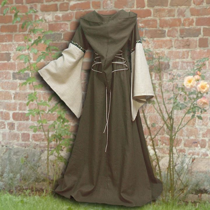 Robe médiévale Johanna à capuche en vert olive 2