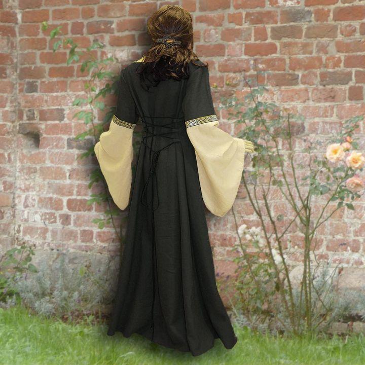 Robe médiévale Johanna à capuche en noir 2