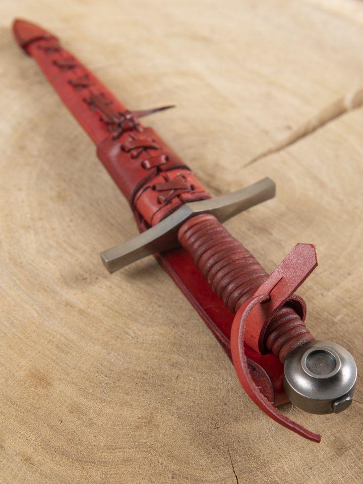 Dague pommeau disque cuir rouge 2