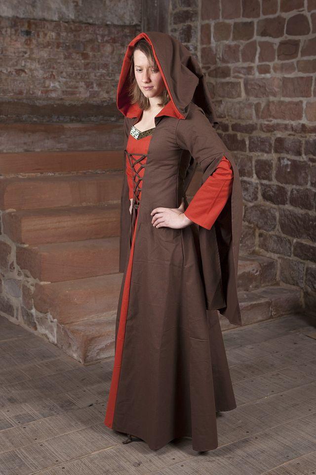 Robe Médiévale Ketlin en marron et rouge 2
