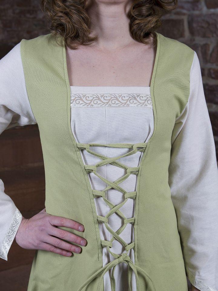 Robe médiévale Jacqueline en crème et vert clair 2