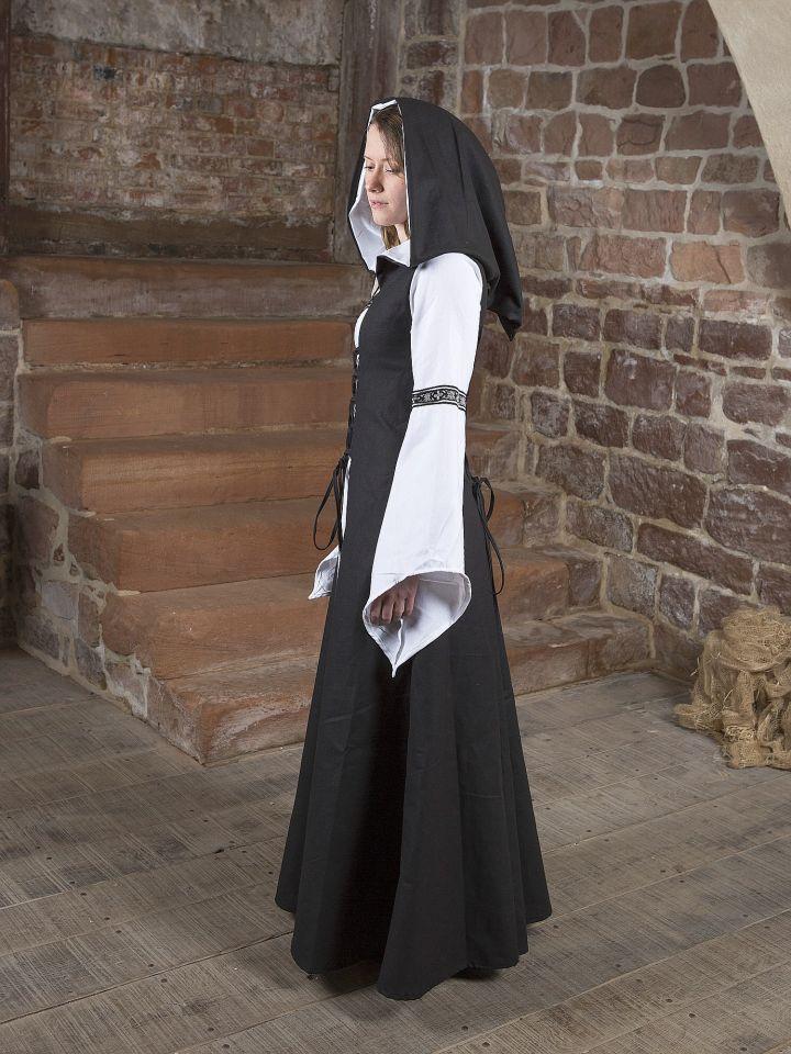 Robe médiévale Irmel en noir et blanc 2