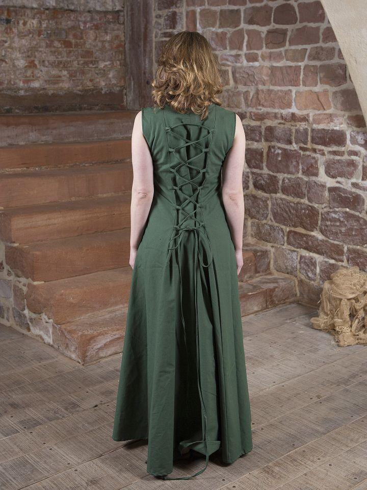 Robe médiévale Yunie en vert olive 2
