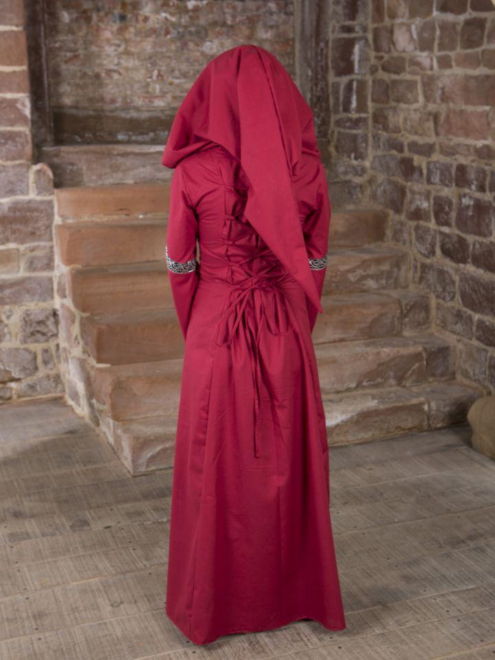 Robe médiévale Helena en rouge et noir 2