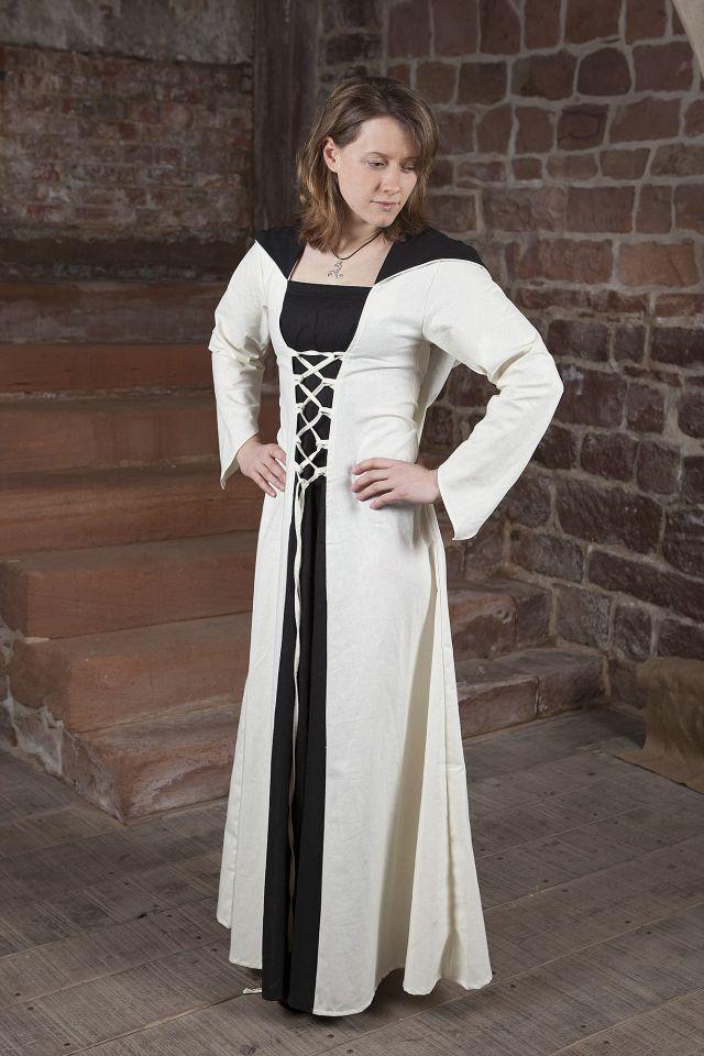 Robe médiévale Luna en blanc et noir au centre 2