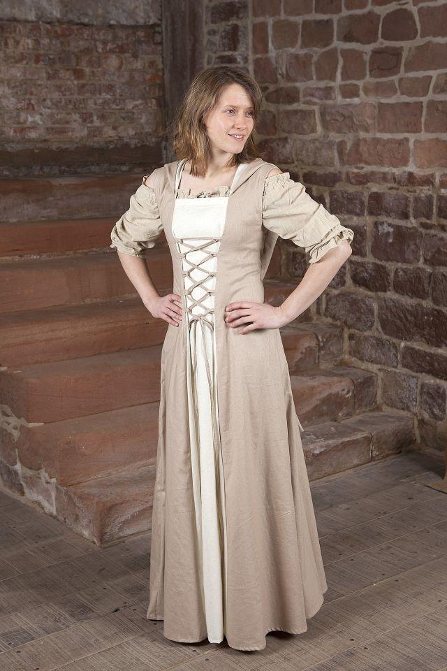 Robe médiévale Loris en blanc et crème 2