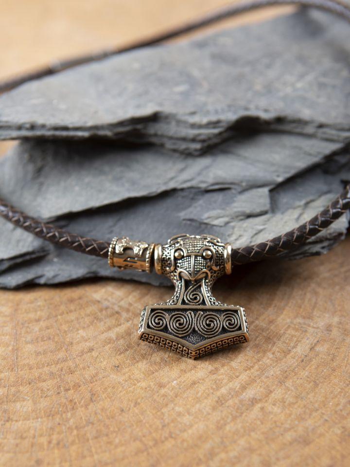 Collier en cuir marron avec pendentif marteau en bronze 2