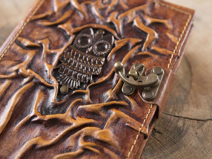 Grand carnet en cuir motif chouette 2