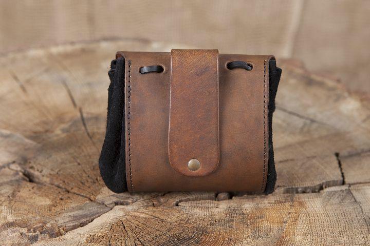 Petit sac de ceinture en cuir, motif arbre de vie en marron 2