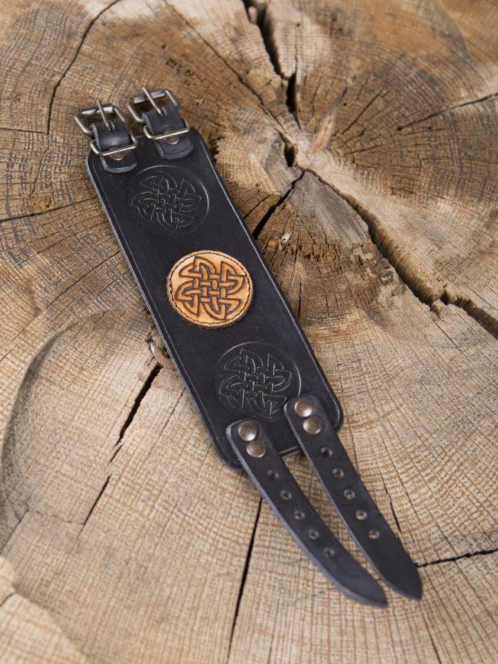 Bracelet en cuir noeud celtique noir 2