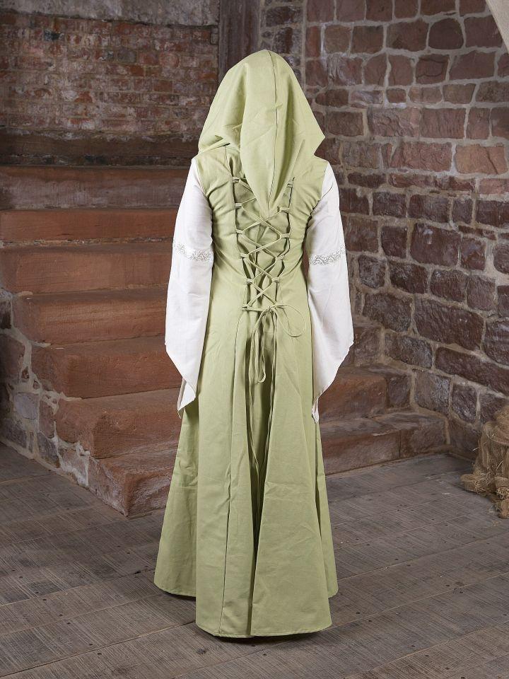 Robe Médiévale Irmel en citron-vert et blanc 2