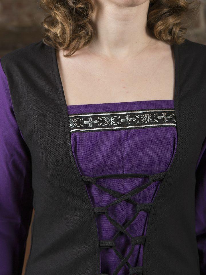Robe médiévale Jacqueline en noir et lilas 2