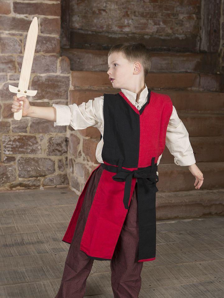 Tabard Norman pour enfant, rouge et noir 2