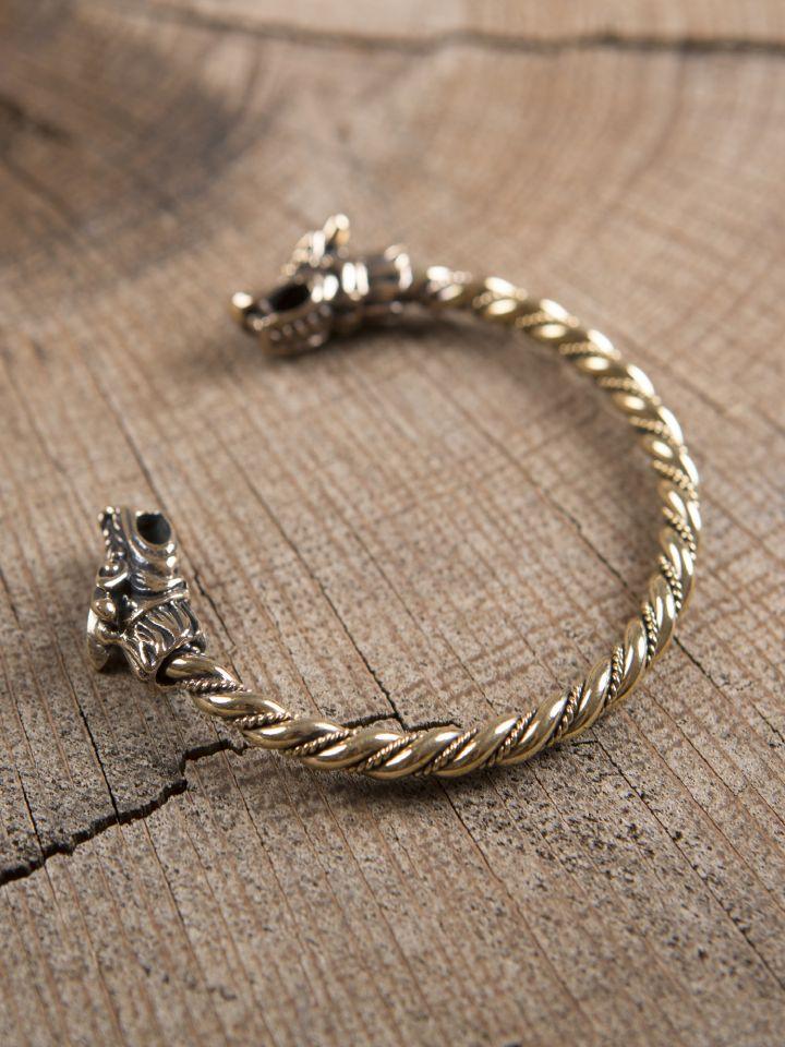 Bracelet en bronze viking à tête de dragon 2