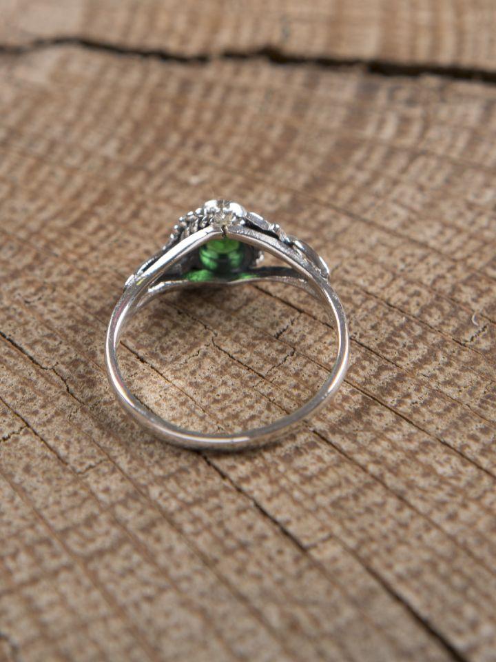 Bague en argent avec pierre en Zircon vert 2