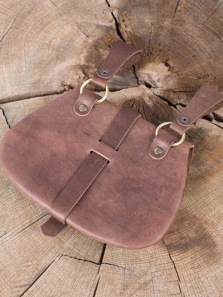 Besace  de ceinture médiévale avec ornements, en marron 3