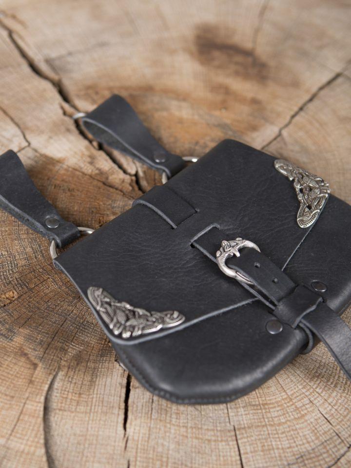 Besace de ceinture médiévale avec ornements, en noire 3