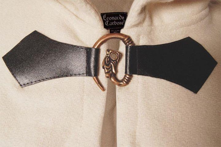 Cape en laine à capuche blanc-écru 131 cm 3