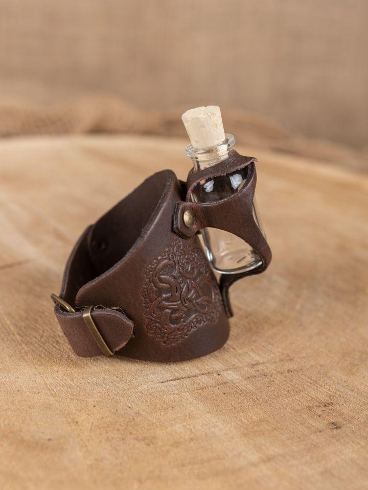 Bracelet porte fiole gaufré, en marron 3