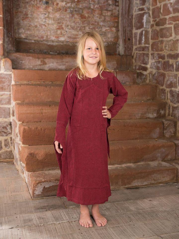 Robe médiévale en coton pour enfant 122/128 | bordeaux 3