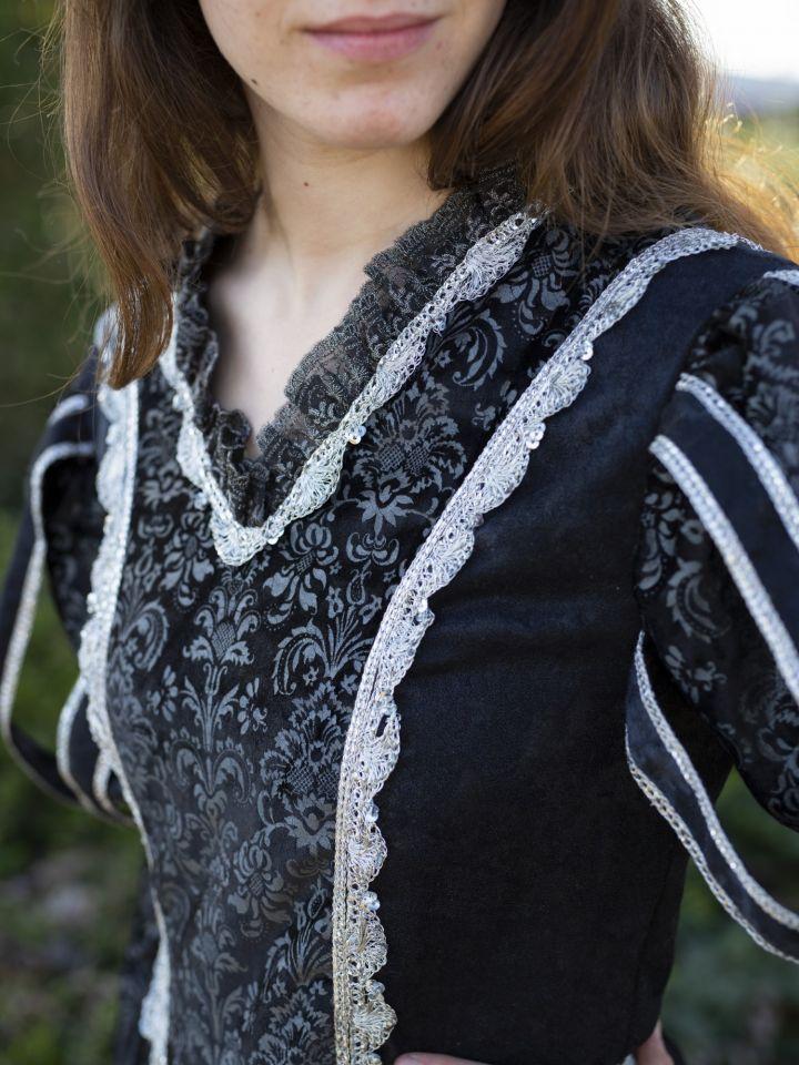 Robe médiévale Tudor en noir 3