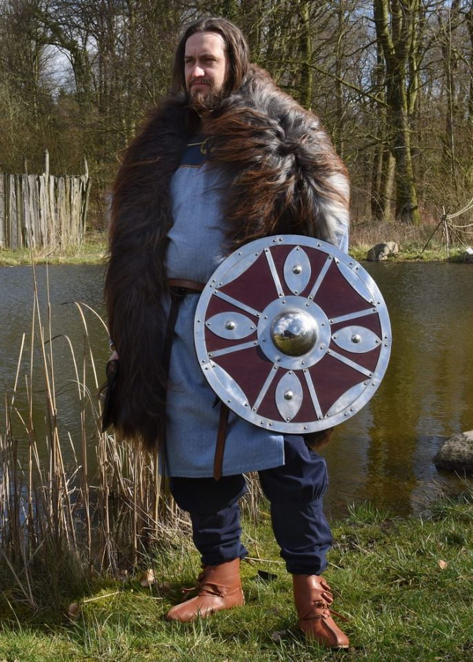 Tunique Viking bleue, motif chevrons 3
