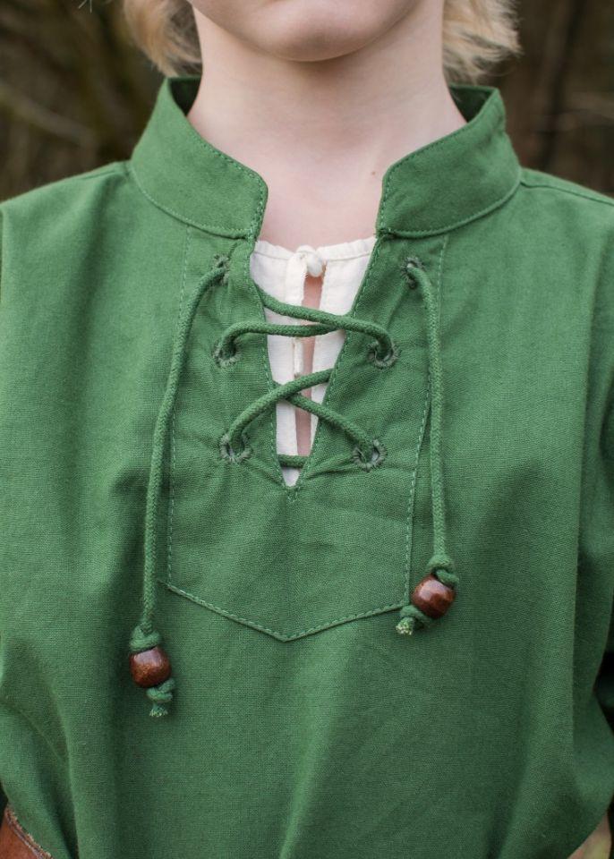 Chemise médiévale pour enfant, en vert 3