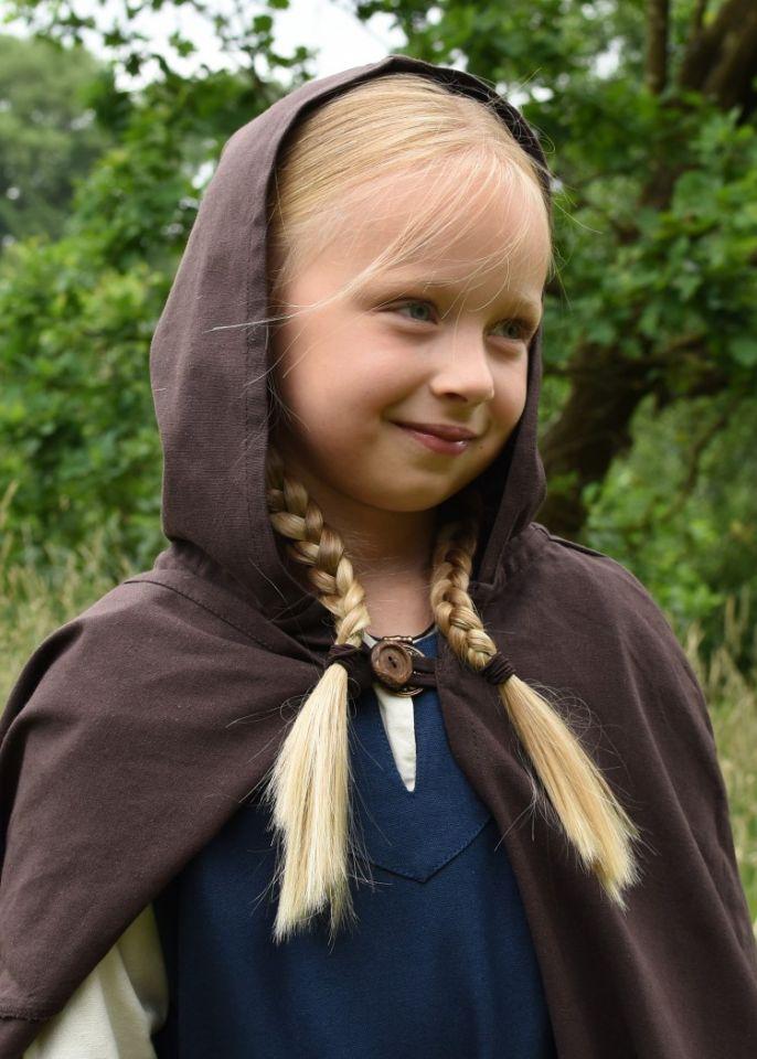 Cape médiévale pour enfant en coton marron 3