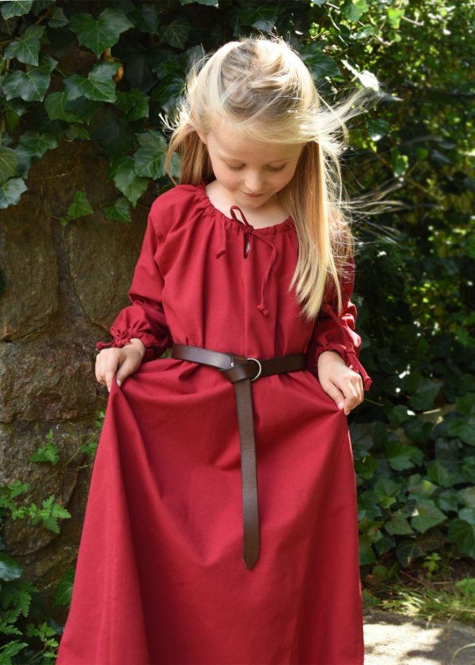 Robe médiévale Mara pour enfant en rouge 3