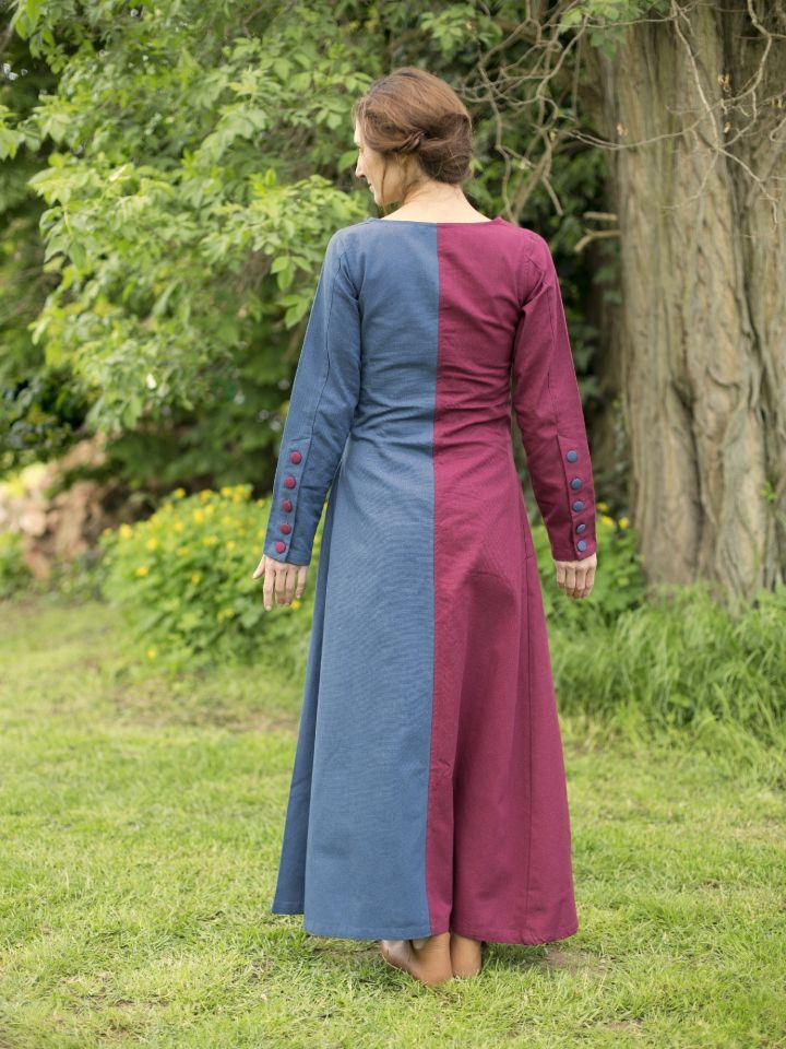 Robe médiévale bicolore à boutons bordeaux et bleu 3