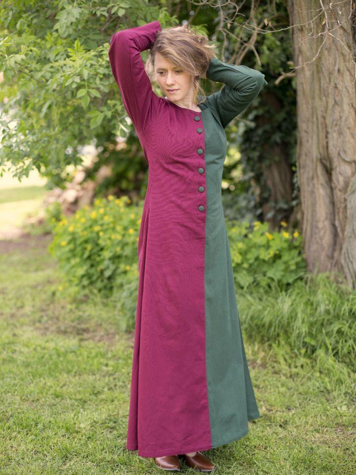 Robe médiévale bicolore à boutons bordeaux et vert 3