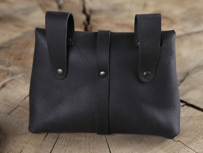 Sacoche de ceinture médiévale, noire 3