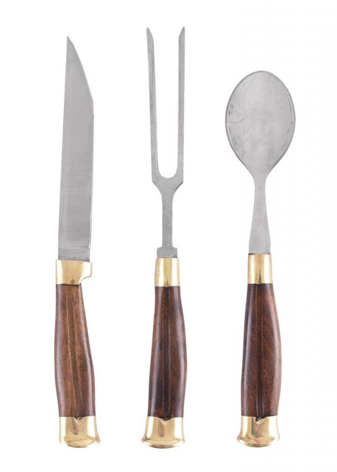 Ménagère médiévale 3 pièces, manche en bois et étui en cuir 3