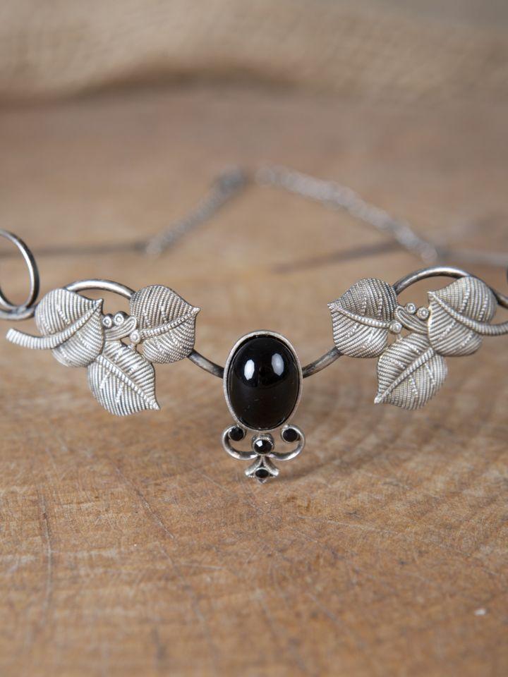 Couronne tiare avec perles noire 3