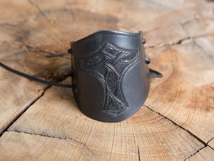 Brassards en cuir Marteau de thor noir 3