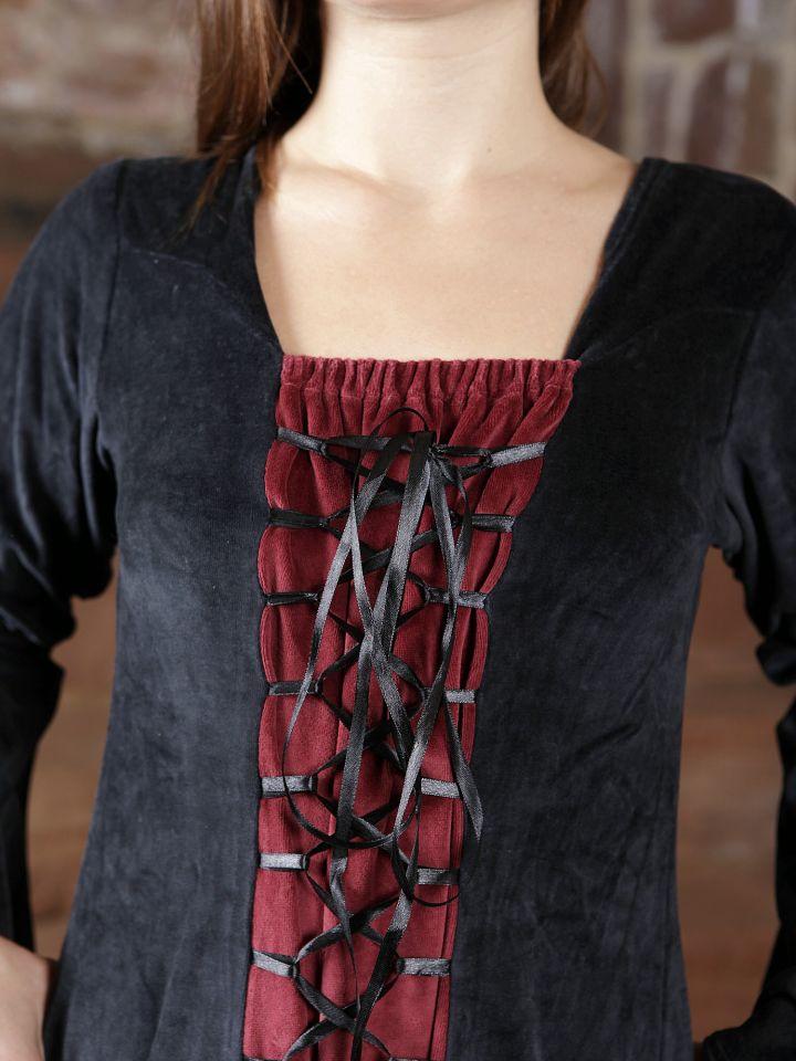 Robe de soirée en velours noir et rouge 3