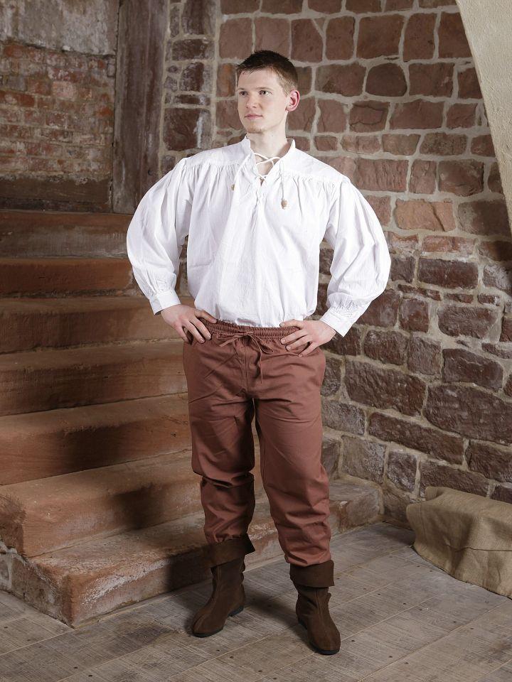 Pantalon médiéval en coton marron 3