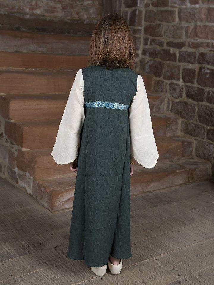 """Robe médiévale """"Piccolina"""" en vert et écru 3"""