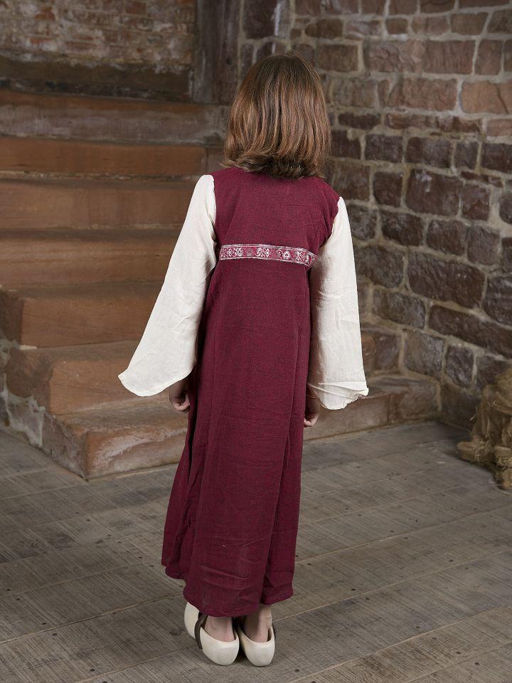 """Robe médiévale """"Piccolina"""" en rouge et écru 3"""