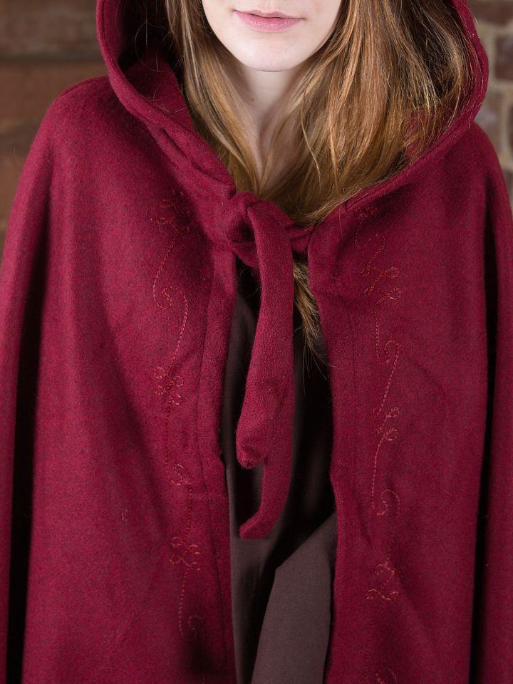 Cape en laine brodée, rouge 3