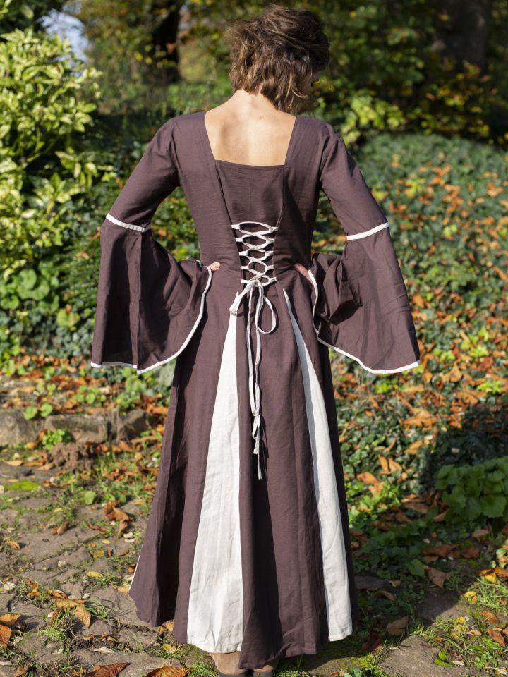 Robe médiévale avec boutons décoratifs, marron-écrue 3