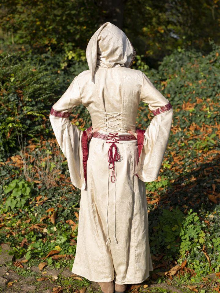 Robe à capuche avec ceinture en bordeaux-nature 3