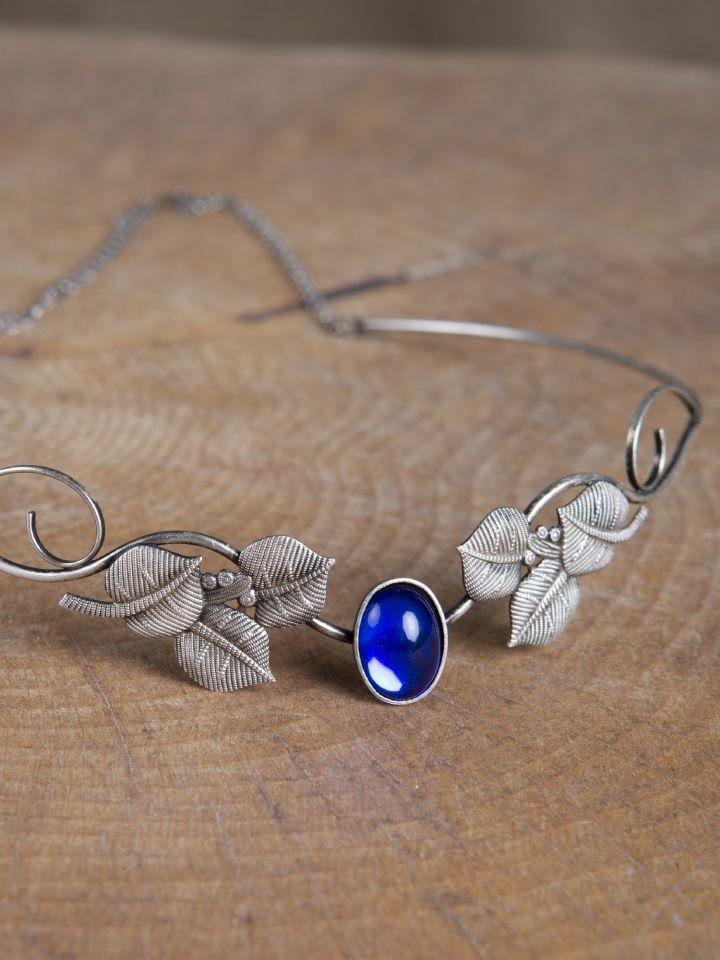 Tiare avec feuilles et pierre bleue 3