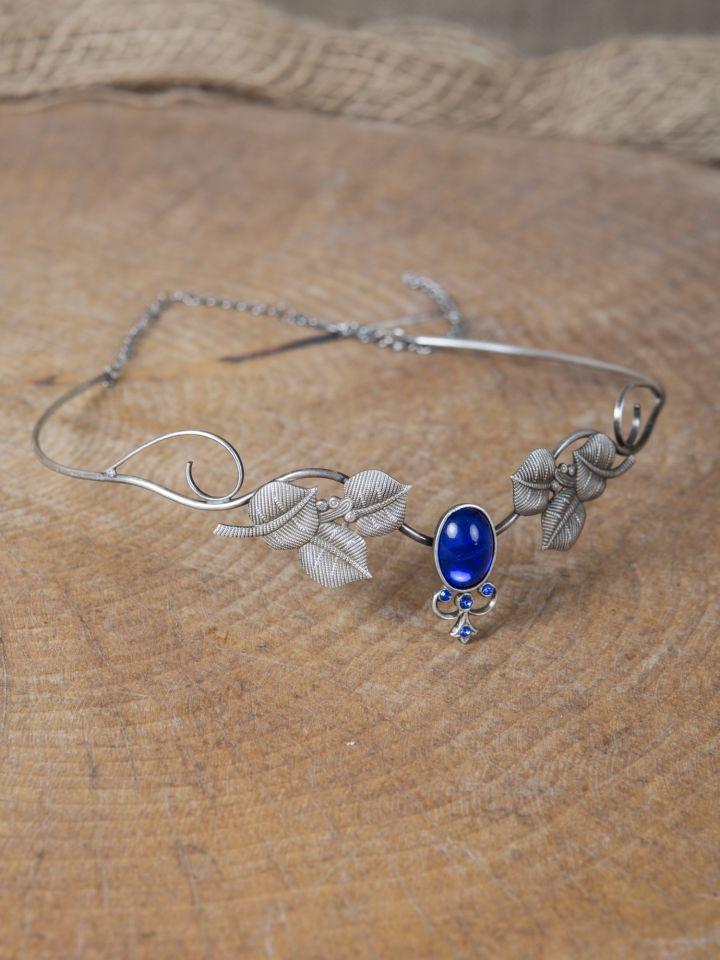 Couronne tiare avec perles bleue 3
