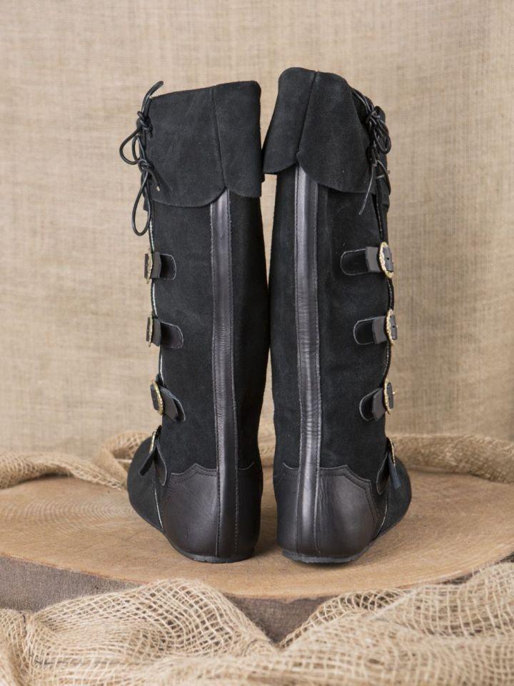 Bottes médiévales à boucles, noires 43 3