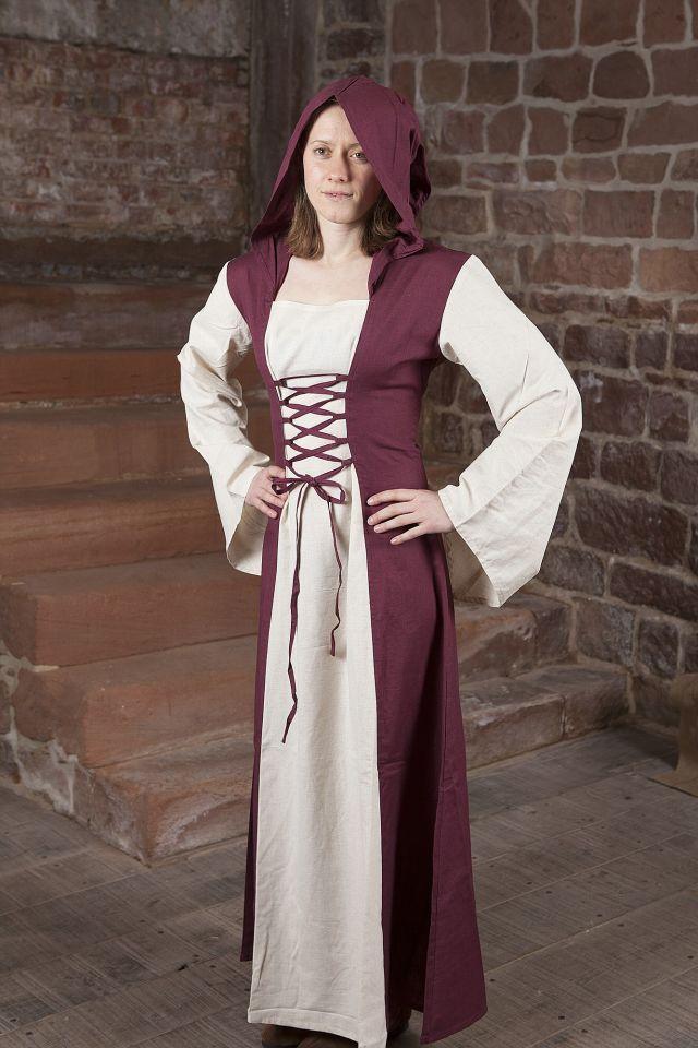 Robe médiévale avec capuche en rouge et naturel 3