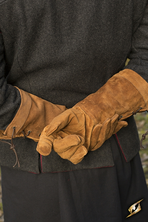 Gants en cuir suédé marron M 3