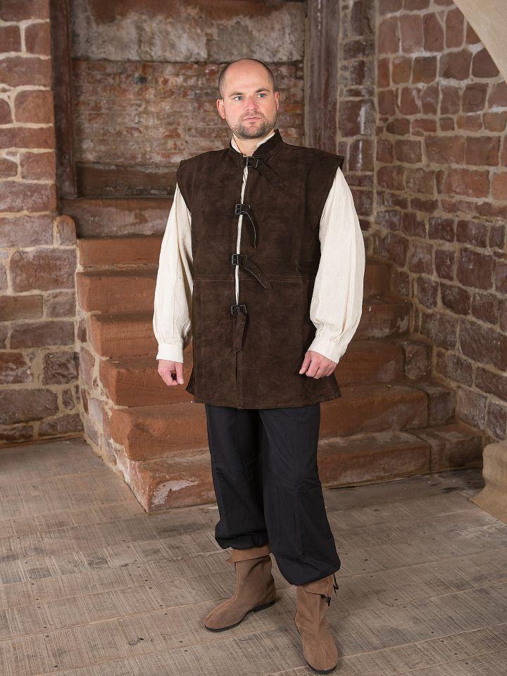 Veste en cuir chamoisé à boucles S 3
