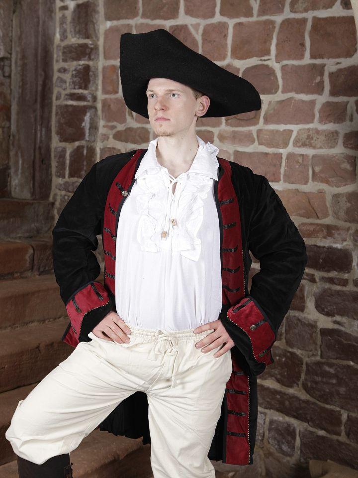 Ensemble redingote, chemise à jabot, pantalon et chapeau 3