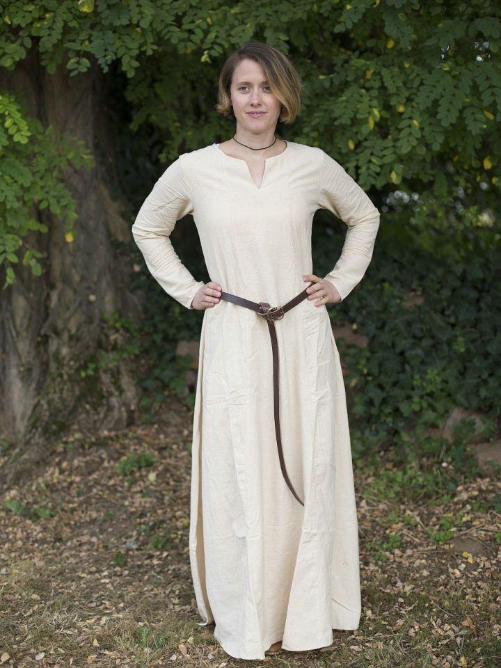 Robe médiévale simple en blanc-écru L 3